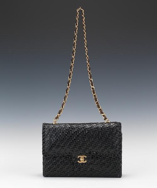 b5959fae0b4d Chanel Black Woven Straw Wicker Mini Flap Bag