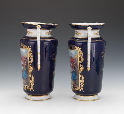 Pair Of Dresden Large Porcelain Garniture Vases Richard Klemm Ca