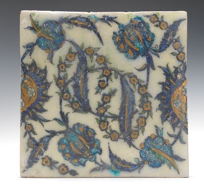 Middle Eastern Ceramic Tile Ca 16th Century 04 18 15