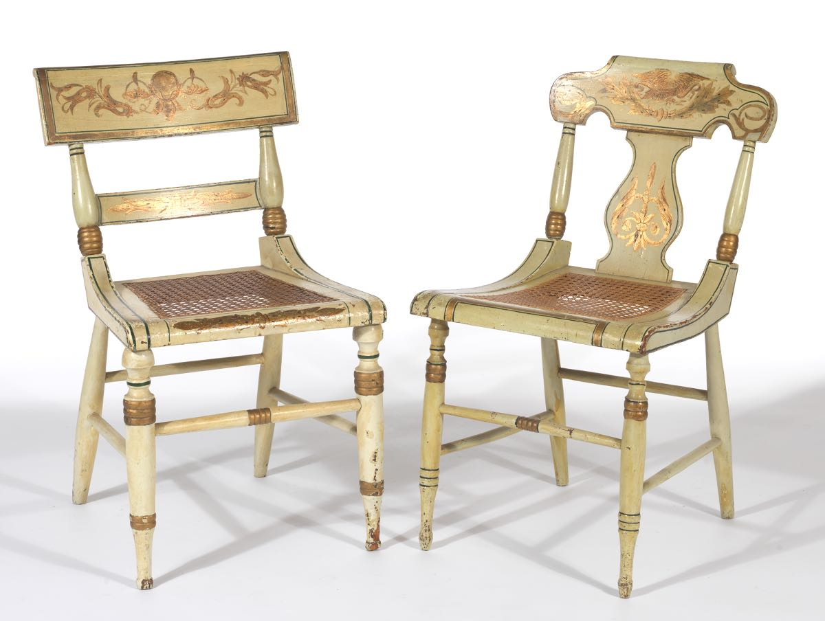 American Empire, Related Painted Chairs, Ca. 19th Century