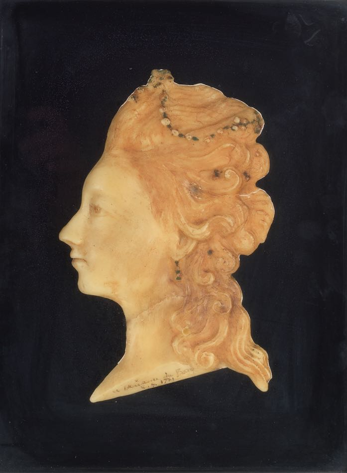 Madame Du Barry Wax Bust In Shadow Box Dated 1771 04 18