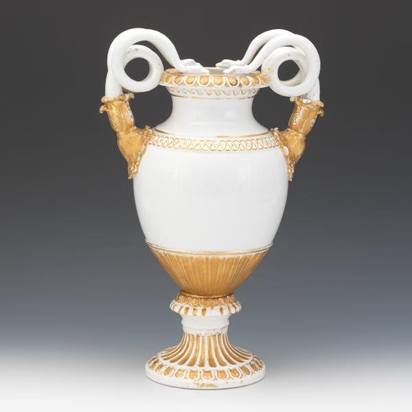 Meissen White Ground Serpent Handled Vase Schlangenvasen Ca