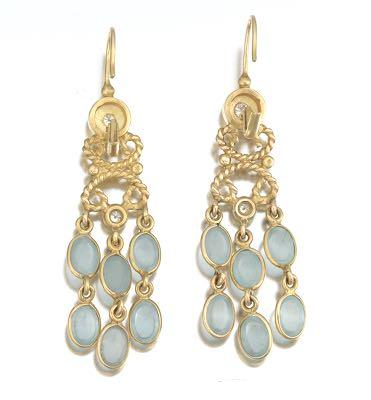Ladies Gold Diamond And Moonstone Pair Of Chandelier