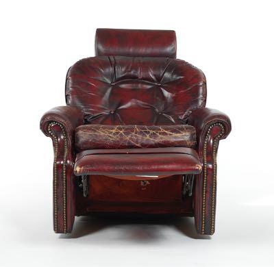 Flexsteel Red Leather Swivel Recliner Chair 10 31 15