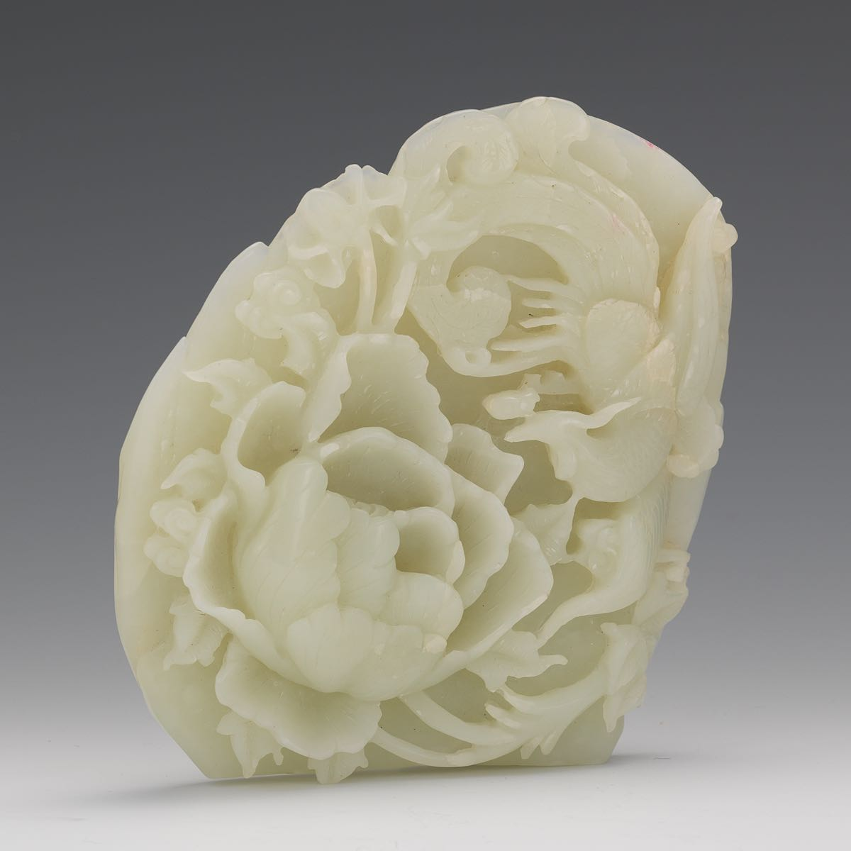 Carved White Jade Of Bird And A Peony 103015 Sold 2596