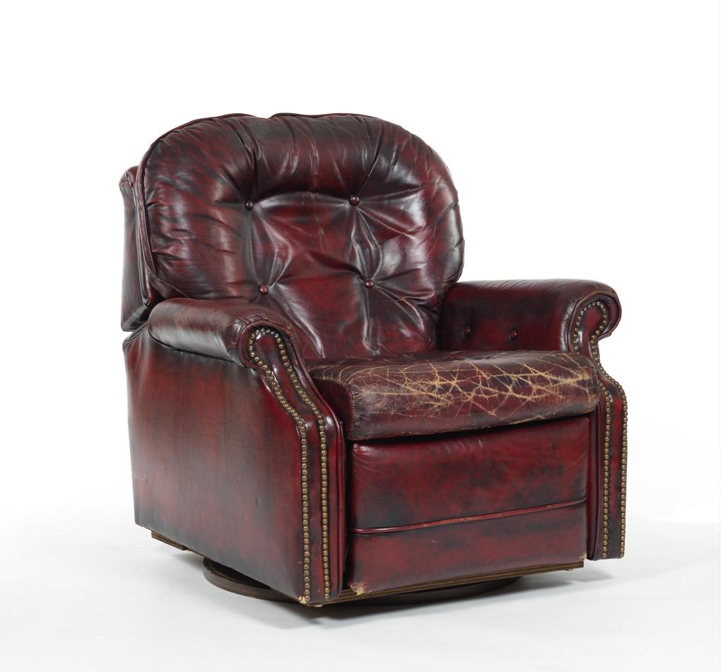 Flexsteel Red Leather Swivel Recliner Chair