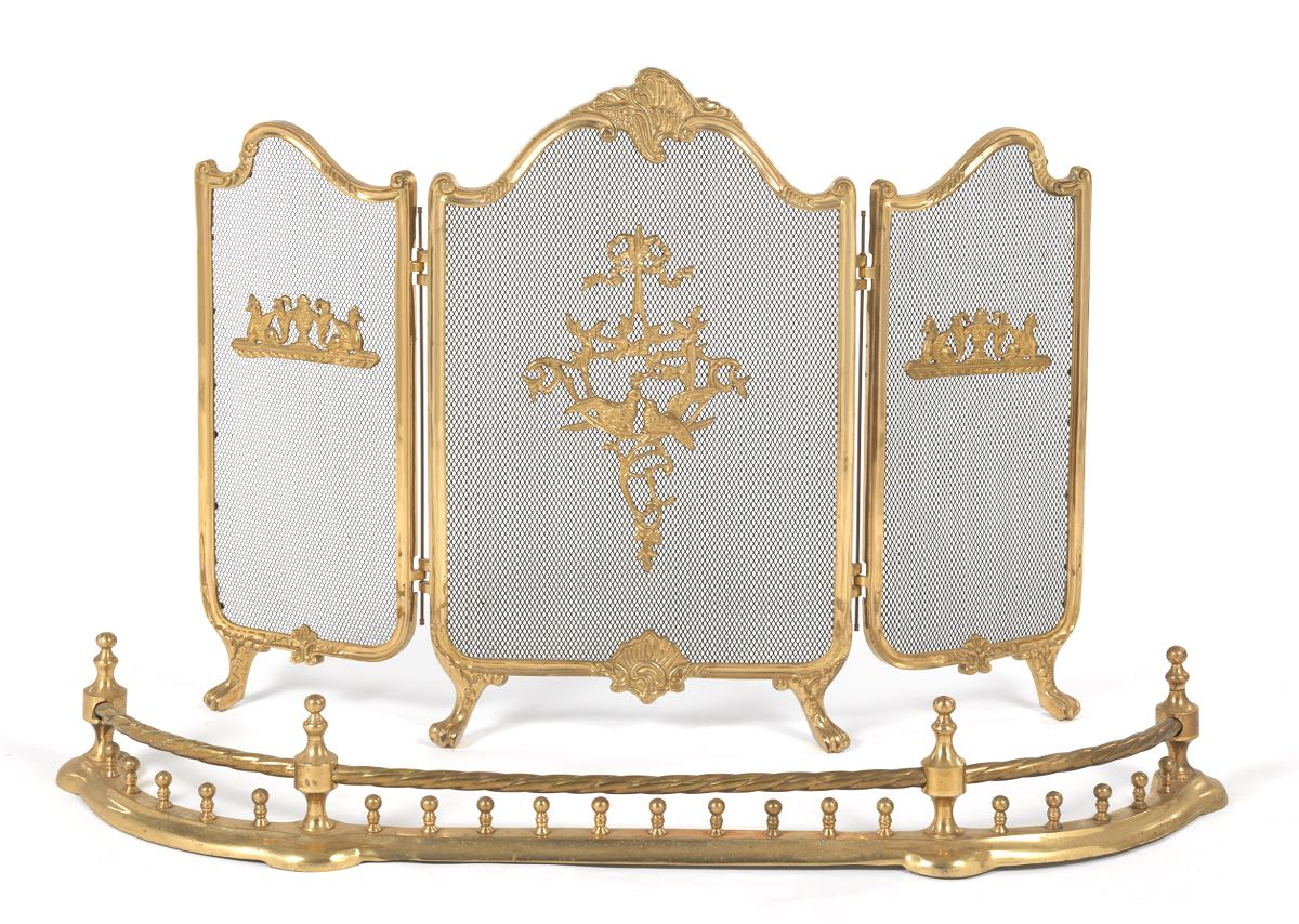 Brass Fireplace Fender And Fire Screen 09 03 15 Sold 241 5
