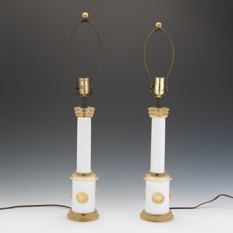 Barovier e Toso Pair of Murano Glass Table Lamps, 09.03.15, Sold ...