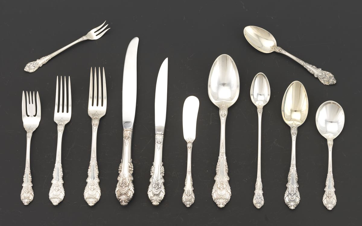 Wallace sterling silver flatware set quot sir christopher