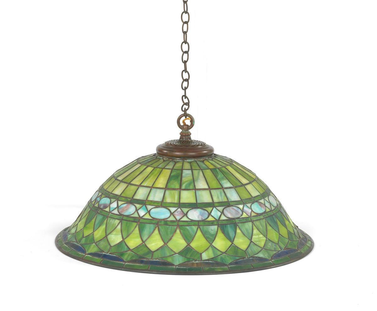 23a6733b55d0 Leaded Glass Hanging Pendant Lamp, 09.03.15, Sold: $1046.5