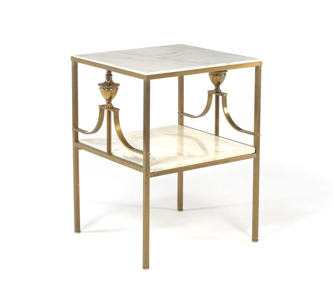 LaBarge Patinated Brass And Marble Two Tiered Side Table, Ca. Mid 20th  Century