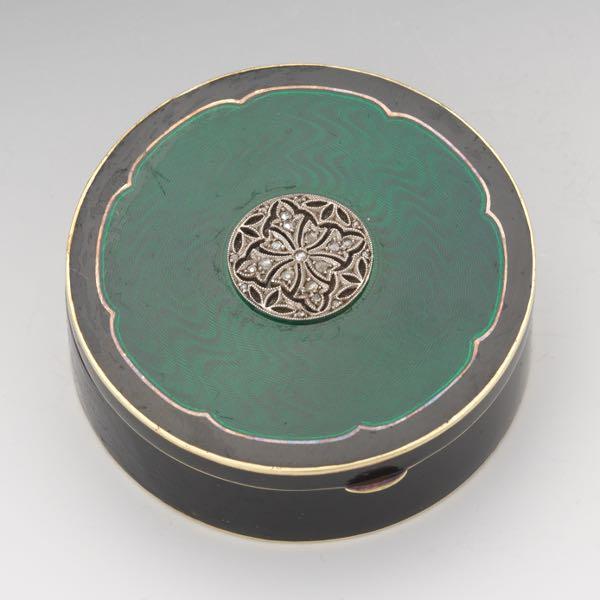 cd8d5beb8 Tiffany & Co. Art Deco Gold Guilloche Enameled Compact