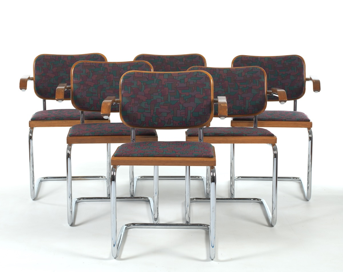 Marcel Breuer Upholstered Cesca Armchairs By Knoll