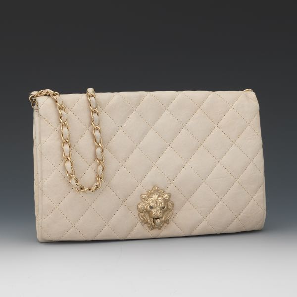 00e614f9011f Chanel Runway White Leather Lion's Head Flap Top Clutch, 2010/11