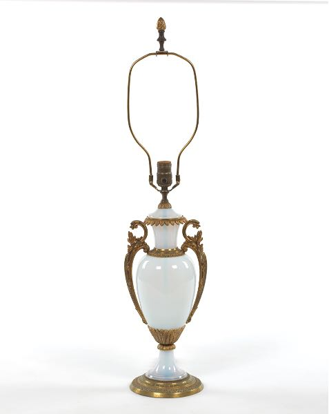 French Opaline Glass Table Lamp