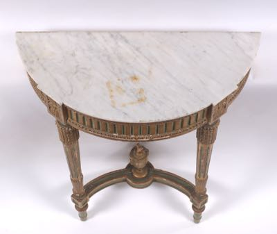 Louis XVI French Wall Mounted Demilune Console Table, Ca. 18th Century