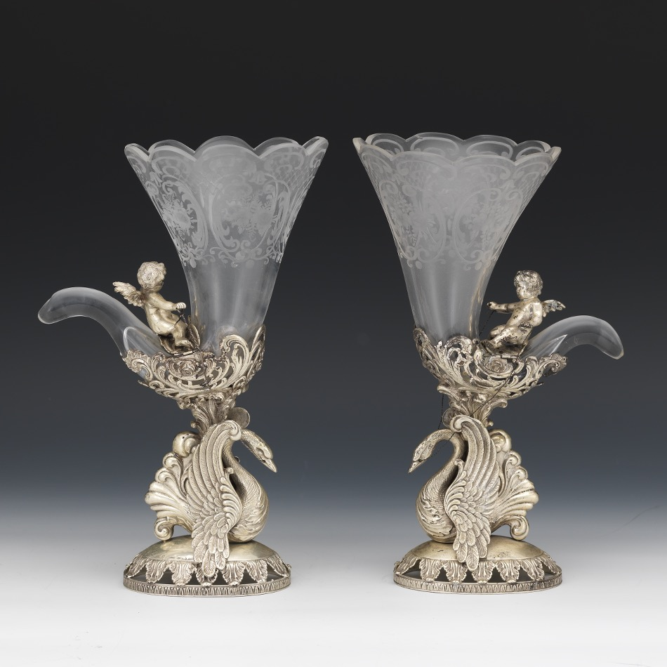 Pair of german 800 silver and etched glass vases hanau retailed pair of german 800 silver and etched glass vases hanau retailed by buchholz reviewsmspy