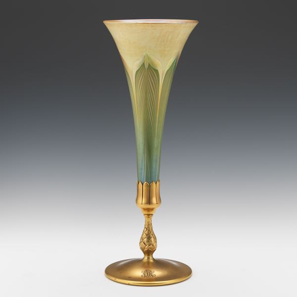 Tiffany Studios Dore Bronze And Favrile Glass Pulled Feather