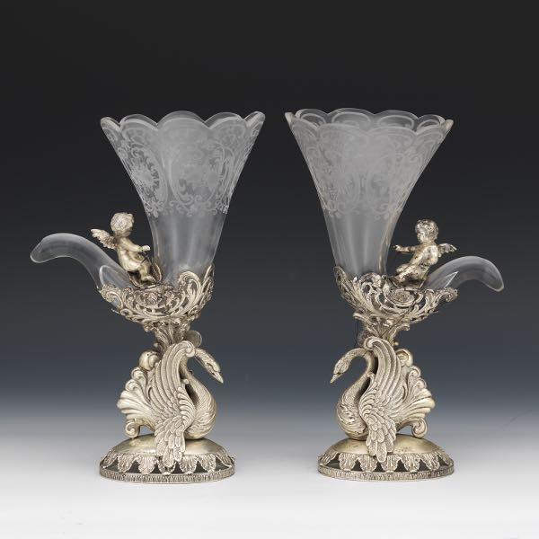 Pair Of German 800 Silver And Etched Glass Vases Hanau Retailed By