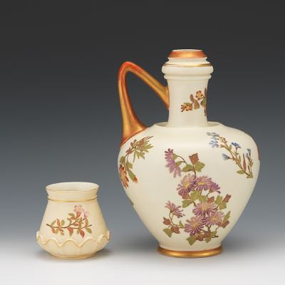 Royal Worcester Aesthetic Movement Porcelain Ewer And Small Vase Ca 1887 And 1888 02 20 16
