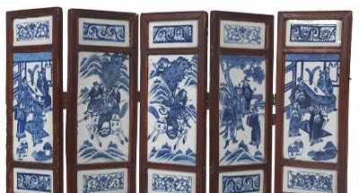 Chinese Five Panel Folding Screen With Blue White Porcelain Tiles