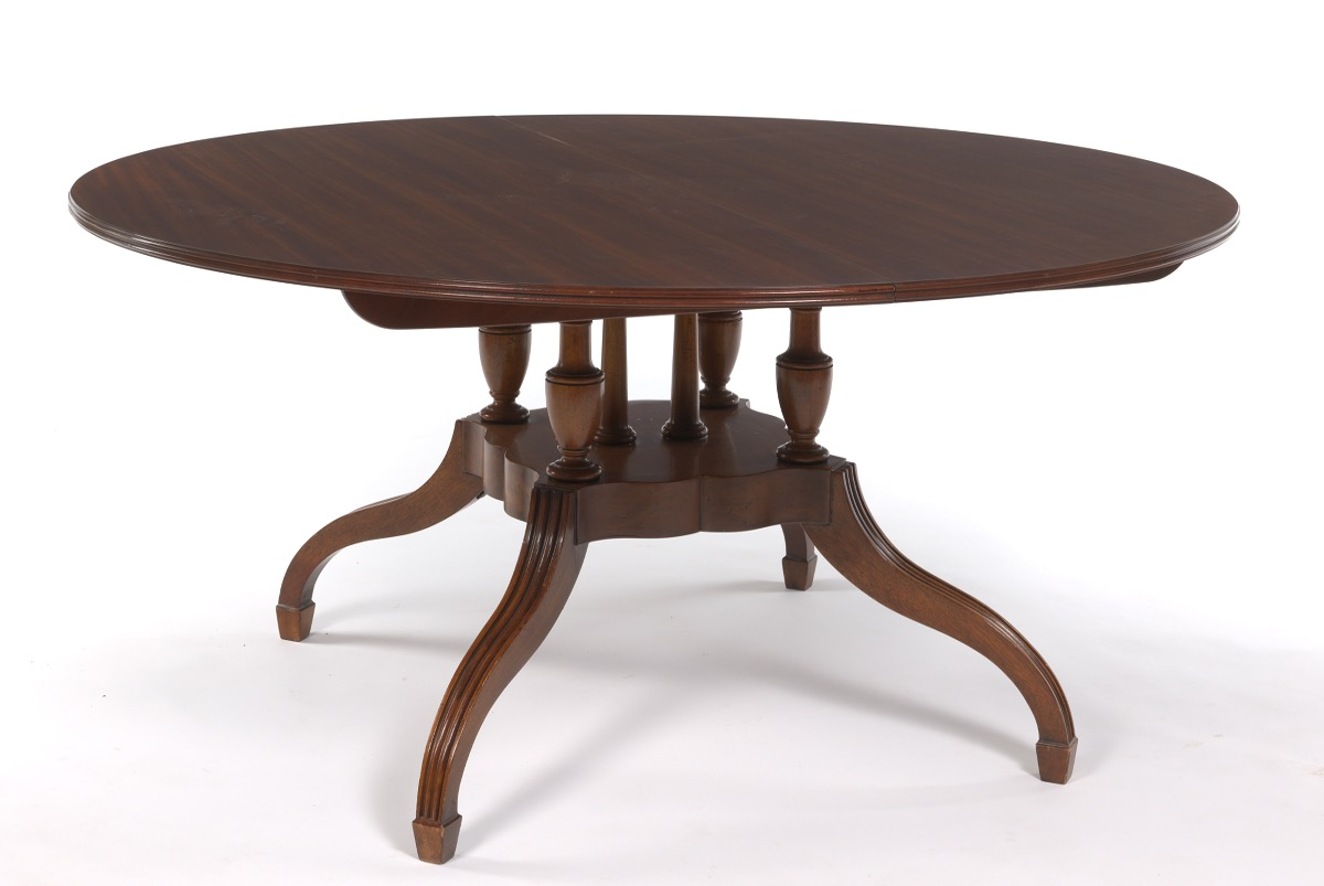 Baker Dining Room Table Baker Single Pedestal Dining Room Table With Two Leaves From
