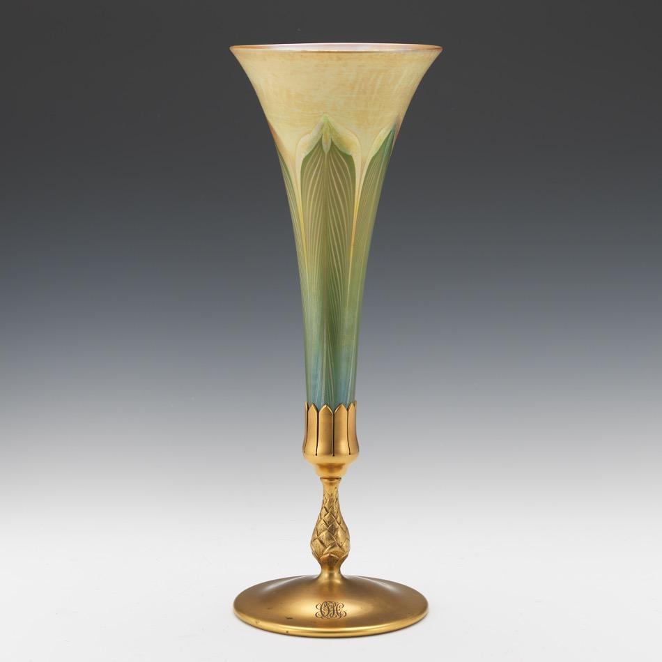 Tiffany Studios D Ore Bronze And Favrile Glass Trumpet Vase 02 20 16