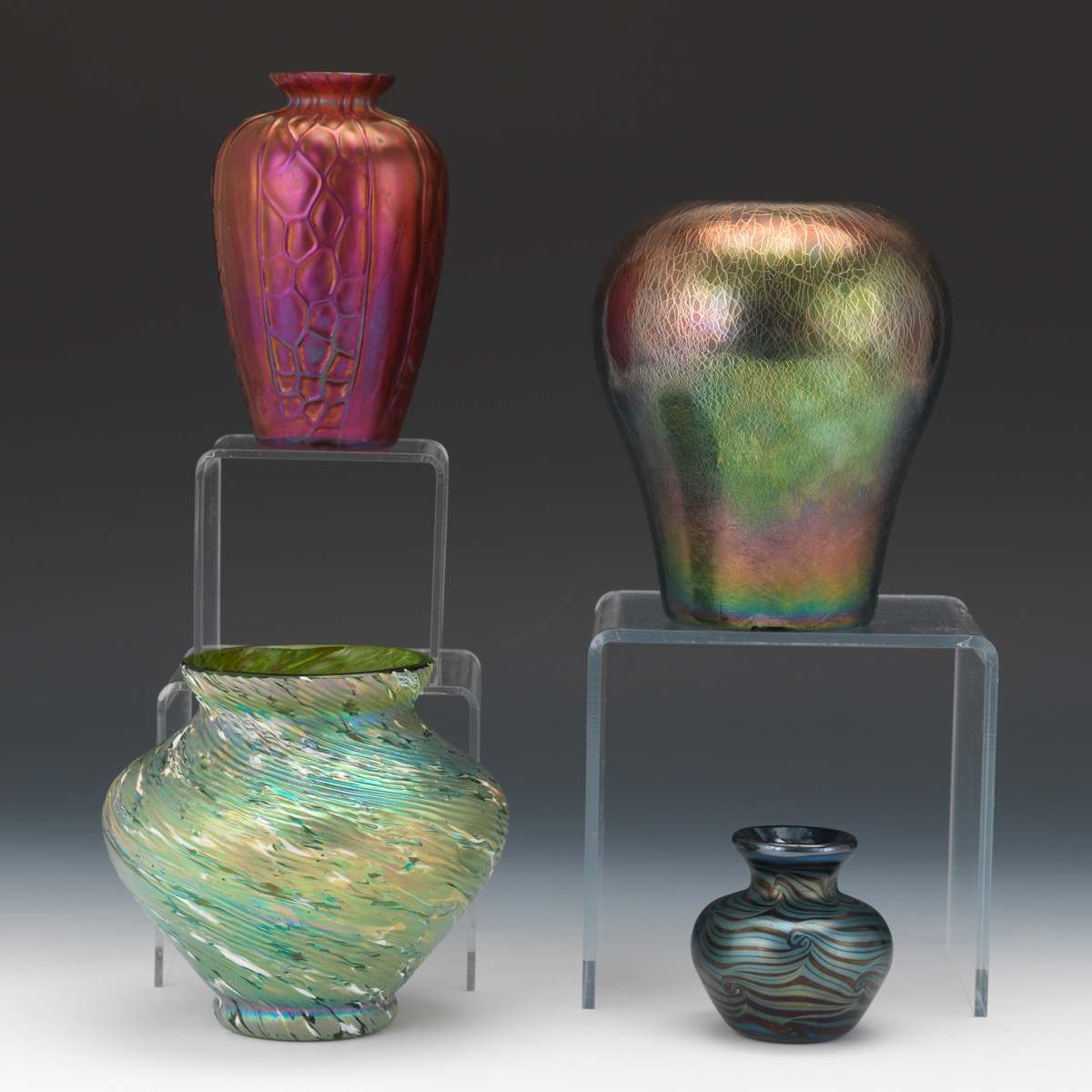 Four Art Glass Iridescent Cabinet Vases 02 20 16 Sold 253 7