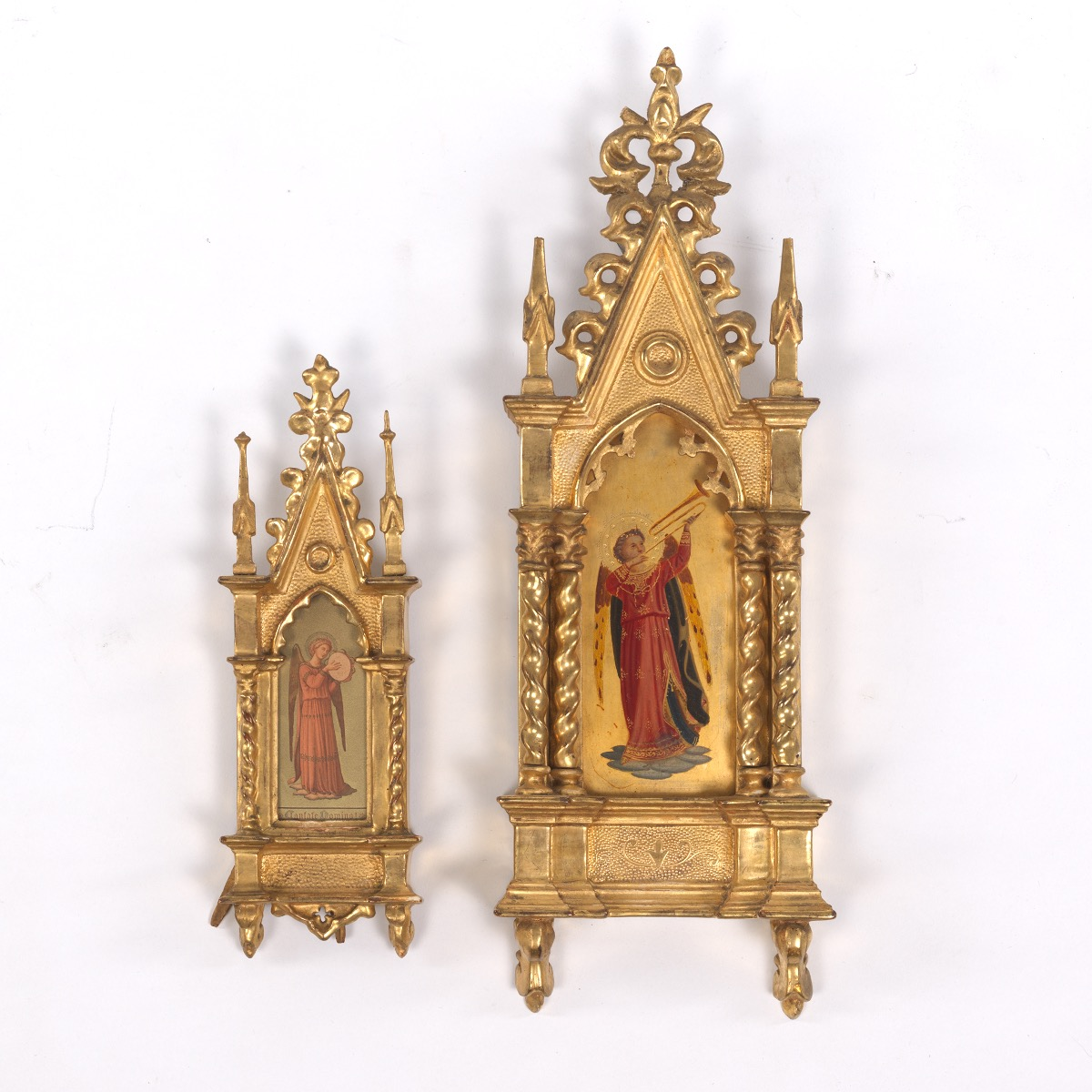 Two Italian Musical Angels in Architectural Gilt Frames, after Fra ...
