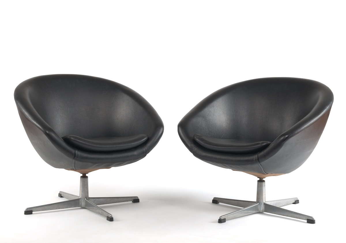 Overman Pair of Black Swivel Bucket Chairs, 02.18.16, Sold: $188.8
