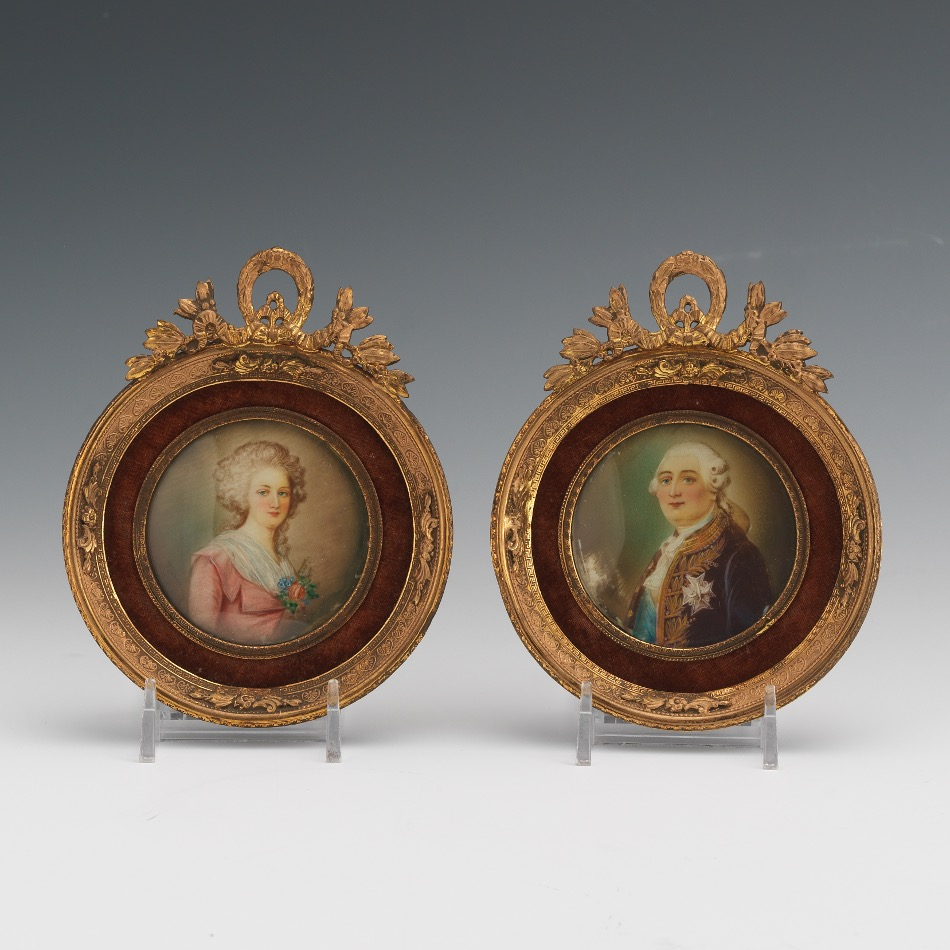 Pair of Miniature Portraits of King Louis XVI and Marie-Antoinette ...