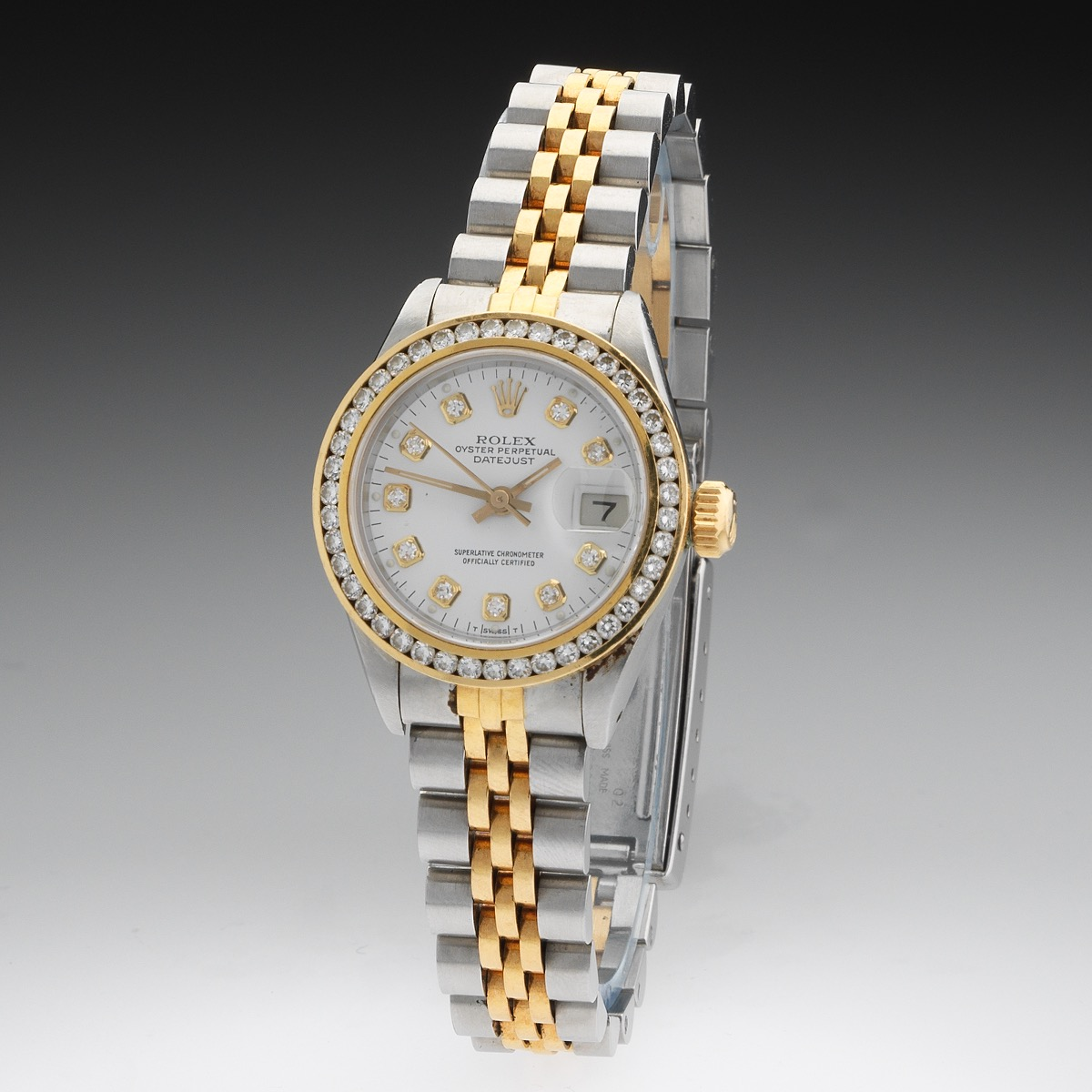 44b57fd25a91 Ladies  Rolex Oyster Perpetual Date Just 18k Gold and Stainless Superlative  Chronometer and Diamond Dial and Bezel