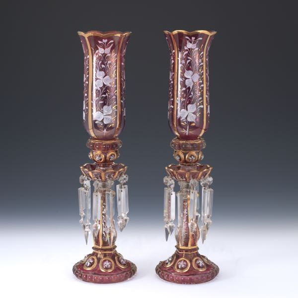 Pair Of Antique Baccarat Style Hurricane Lamps 102716 Sold 3658
