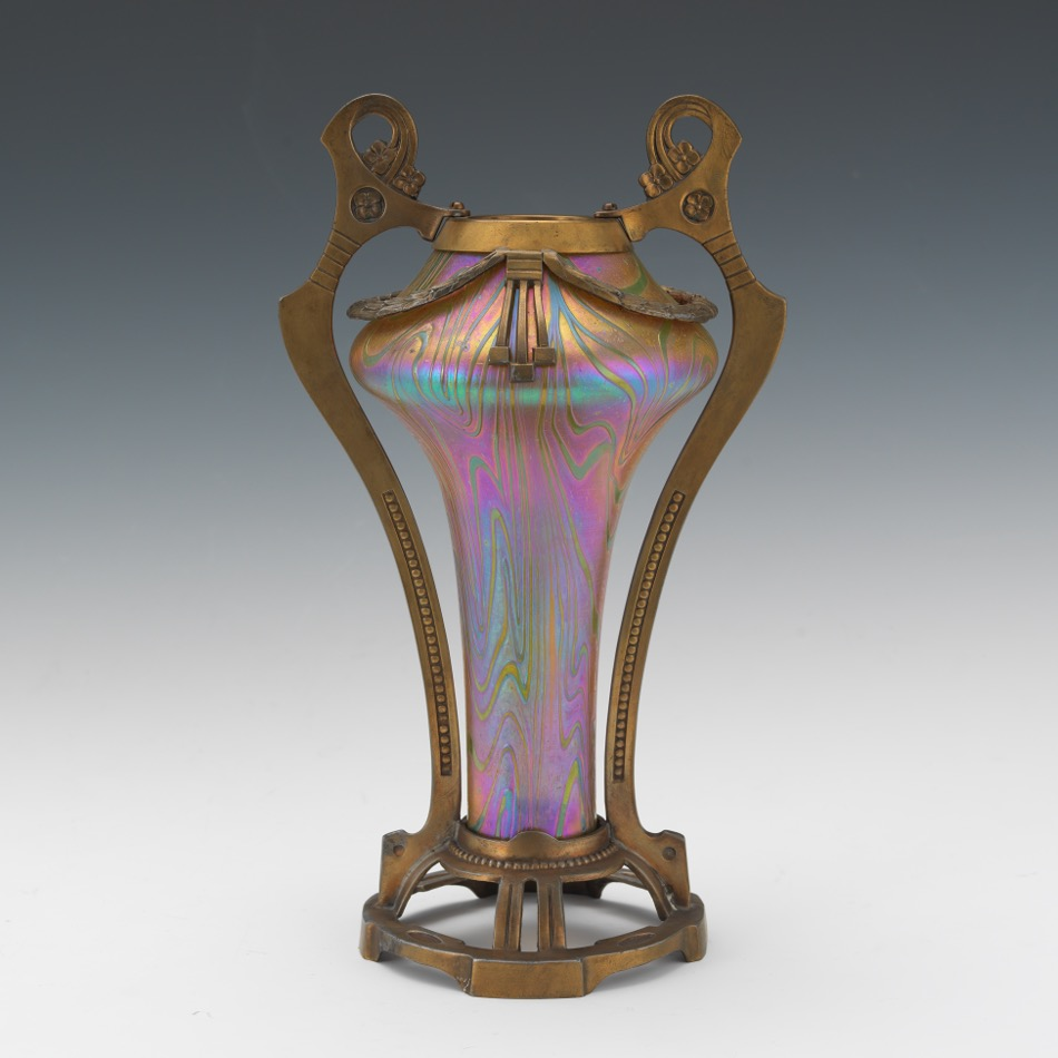 Attributed to loetz art nouveau glass and gilt metal vase 0912 attributed to loetz art nouveau glass and gilt metal vase reviewsmspy
