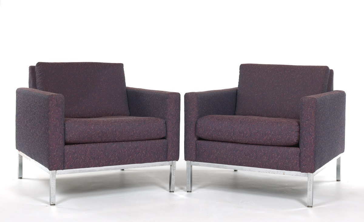 Steelcase Lounge Chairs, Pair In The Manner Of Florence Knoll