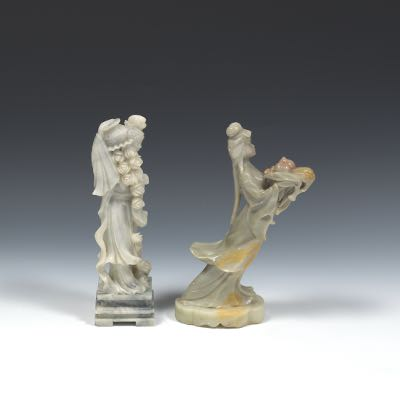 Chinese Carved Hardstone And Soapstone Sculptures Of Guan