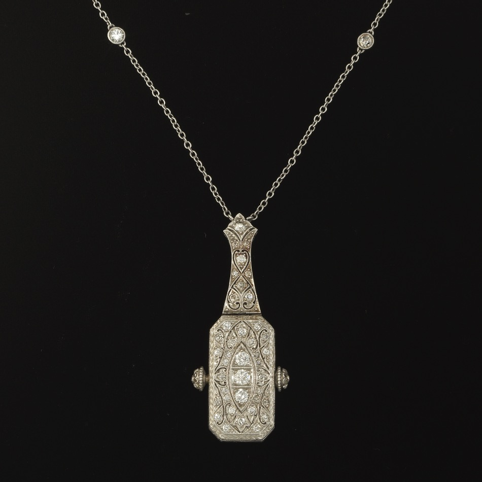 Bailey Banks Biddle Art Deco Platinum And Diamond Pendant Watch On Diamond By The Yard Chain 04 07 17