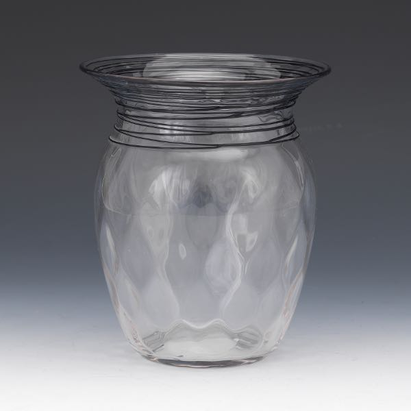 Frederick Carder Steuben Threaded Clear Glass Vase Ca Early 20th