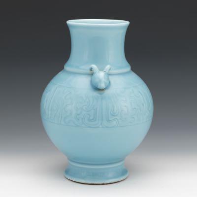 Chinese Porcelain Powder Blue Glaze Vase Qianlong Marks 021817