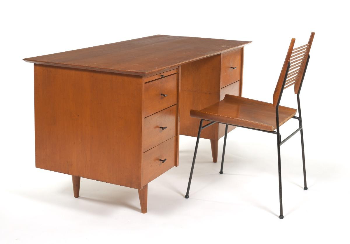 Paul Mccobb Planner Group Double Pedestal Desk And Shovel