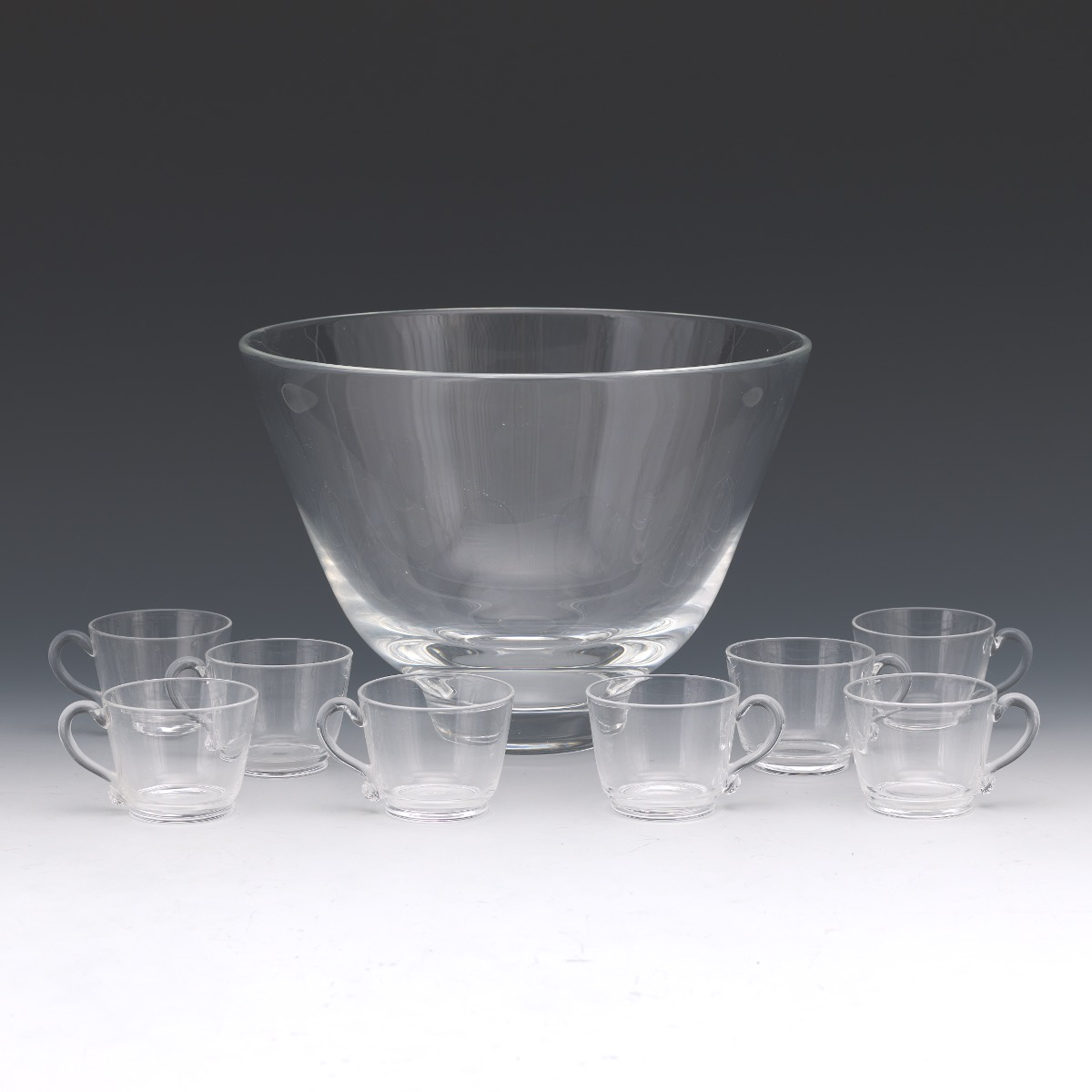 e141eb7c416 Steuben Crystal Punch Bowl and Cups