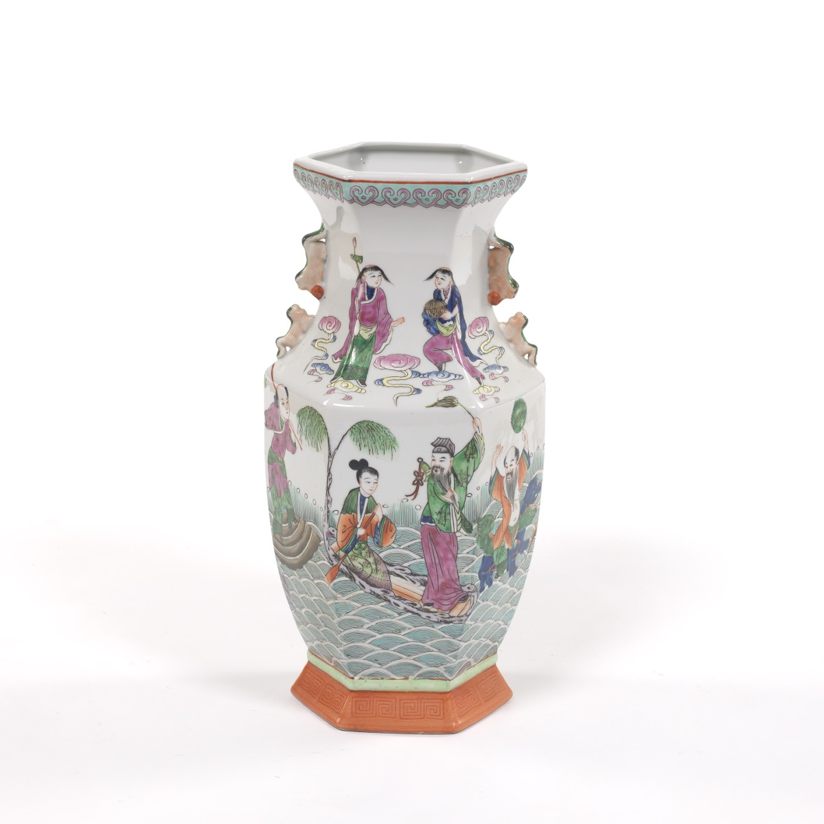 Chinese porcelain hexagonal famille vert vase of eight immortals chinese porcelain hexagonal famille vert vase of eight immortals jiaqing marks reviewsmspy
