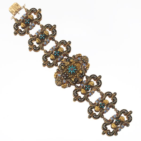 5d6fdca6a9f Antique Gold, Silver, Enamel, Seed Pearl, Turquoise and Garnet Twin  Bracelet, French or Swiss