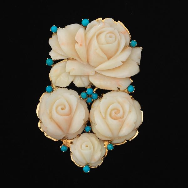 e01451d5f4a3 Carved Angel Skin Coral and Turquoise Brooch