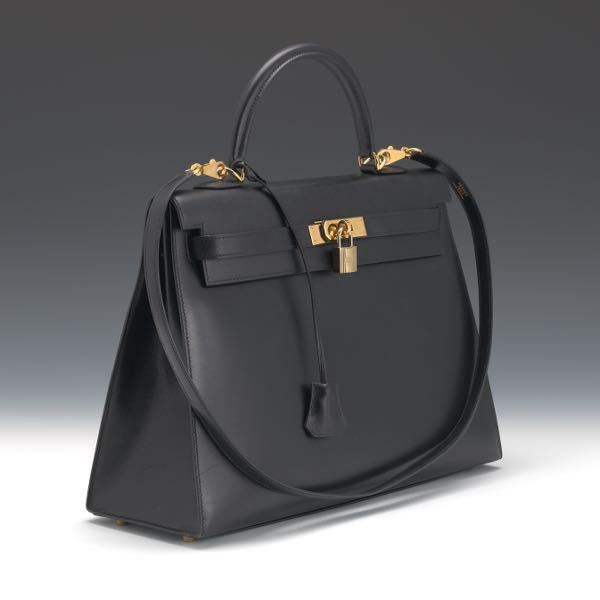 c0a1d7fa2e Hermes 35cm Black Calf Box Leather Sellier Kelly Bag with Gold Hardware,  2001