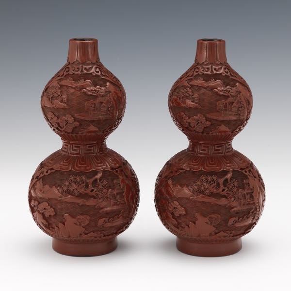 9f9d428c668 Chinese Pair of Double Gourd Cinnabar Lacquer on Wood Vases