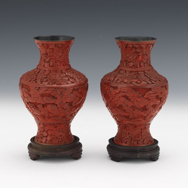 2002abf4a61 Chinese Pair of Carved Cinnabar Lacquer Vases