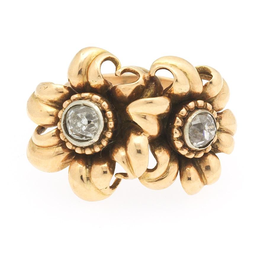 9eb911b7e Ladies' Retro Gold and Diamond Floral Ring , 04.12.19