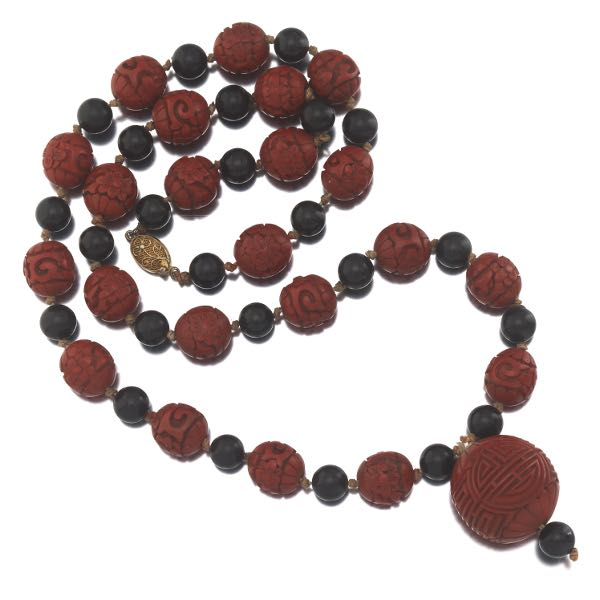 582c5d9e0 Chinese Export Gilt Sterling Silver, Carved Cinnabar Lacquer and Black  Lacquer Bead Necklace