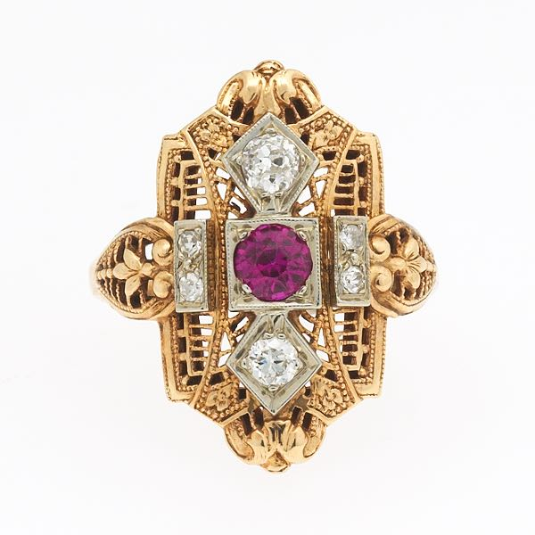 882b02a5a Art Deco Gold, Diamond and Synthetic Ruby Ring